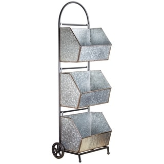 American Art Decor 3 Tier Metal Rolling Shelf Storage Organizer