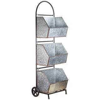 3 Tier Galvanized Metal Rolling Shelf Storage Organizer with Bins