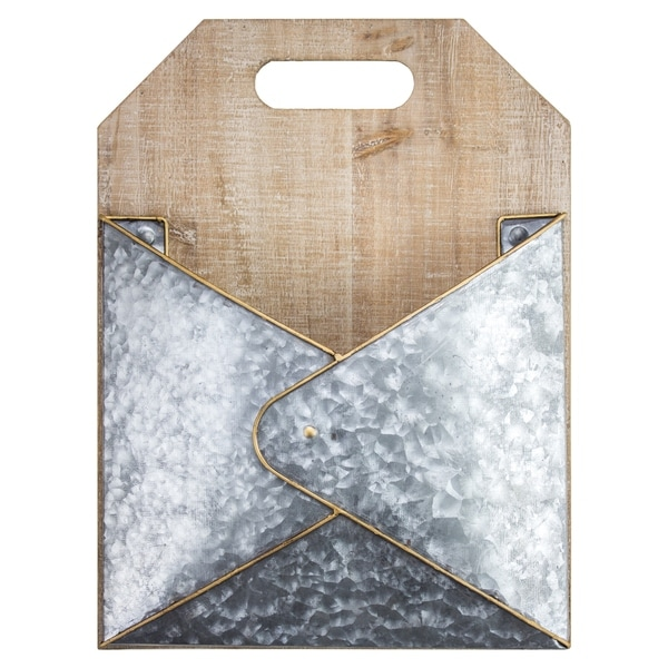 Wood Metal Hanging Wall Magazine Mail Letter Rack Modern Farmhouse Decor