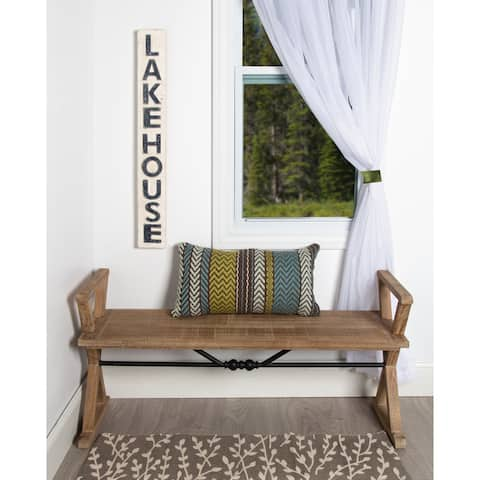 Kate and Laurel Travere Wood Bench w/ Rustic Finish and Support Bar