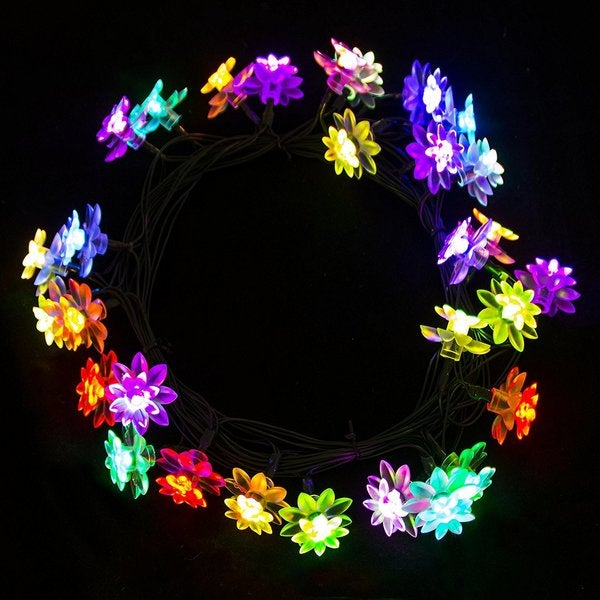 aleko solar powered 30 led multicolor flower christmas lights 20 ft free shipping on orders over 45 overstockcom 24906737 - Solar Powered Christmas Wreath