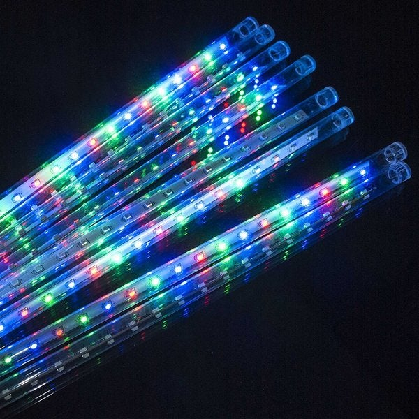 electric multicolor meteor flash christmas light 8 meteors 36 led each