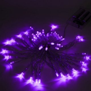 ALEKO 50 LED Battery Operated 19.5 feet Christmas Purple Lights