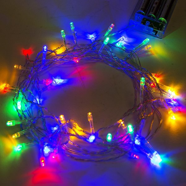 aleko 50 led battery operated 195 feet christmas multicolor lights
