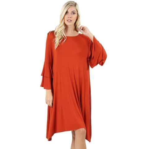 JED Women's Double Bell Sleeve Sharkbite Hem Tunic Dress