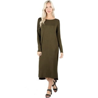 JED Women's Long Sleeve Comfy Fit Casual Midi Dress