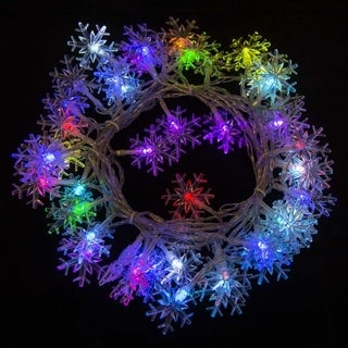 ALEKO Electric 50 LED Multicolor Snowflake Christmas Light Lot of 2