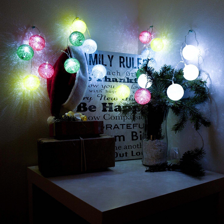 Aleko Battery 20 LED Cotton Balls Christmas Light 7 ft Lo...
