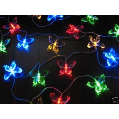 ALEKO 20 LED 15 feet Butterfly Solar Powered Decorating String Lights