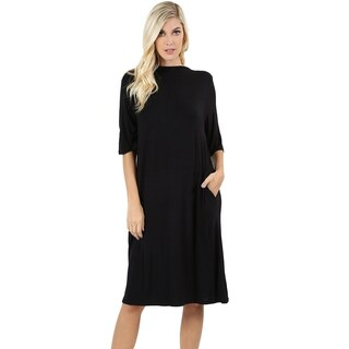 JED Women's Solid Knee Length Dress with Side Pockets (2 options available)