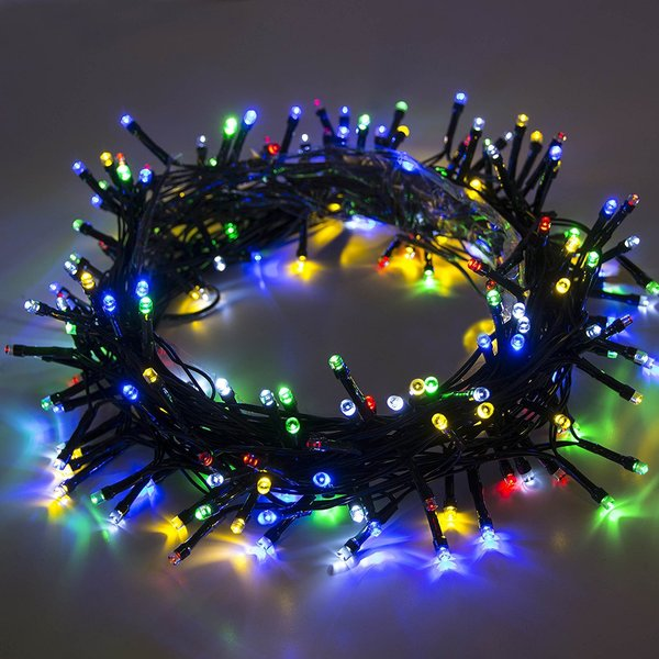 aleko 100 led multicolor solar powered 35 foot decorating string light - Solar Powered Christmas Wreath