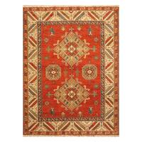 Handmade Herat Oriental Indo Hand-knotted Kazak Wool Rug - 5'10 x 7'10 (India)