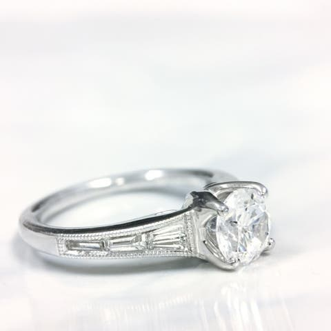Lihara and Co. 18k White Gold 1/3ct TDW White Diamond Semi-Mount Engagement Ring (G-H, VS1-VS2) - White G-H