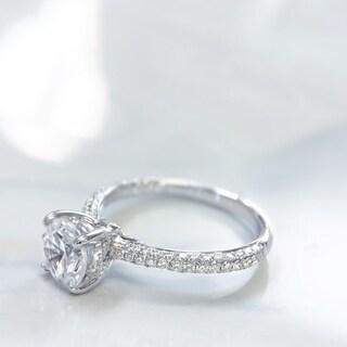Lihara and Co. 18k White Gold 2/5ct TDW White Diamond Semi-Mount Engagement Ring (G-H, VS1-VS2) - White G-H