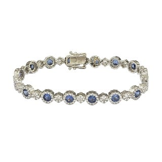 Suzy Levian Sterling Silver Sapphire and Diamond Accent Bracelet