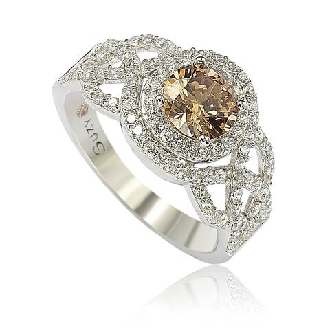 Suzy L. Sterling Silver Brown Cubic Zirconia Crossover Bridal Ring