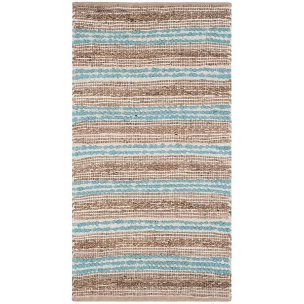 Shop Safavieh Hand-Woven Cape Cod Natural/ Teal Cotton Rug