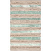 Safavieh Hand-Woven Cape Cod Natural/ Turquoise Cotton Rug - 3' x 5'