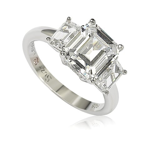 Suzy Levian Sterling Silver Emerald Cut 3.50cttw Cubic Zirconia 3-Stone Engagement Ring - White