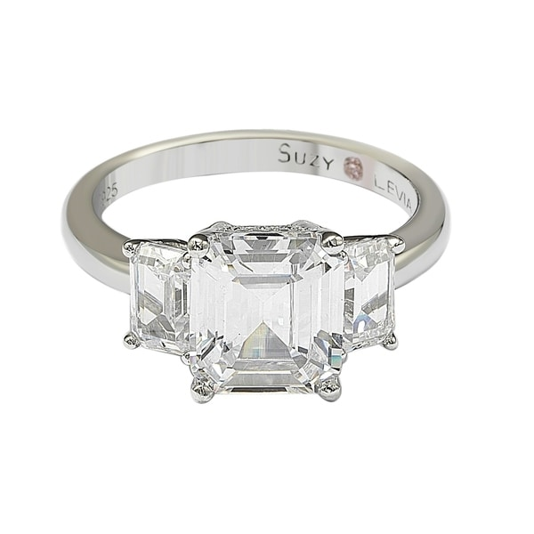 3.50 Ct White Emerald Cut /& Sapphire CZ Art Deco Engagement Sterling Silver Ring