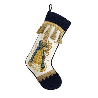 Angel Needlepoint Stocking With Velvet Cuff