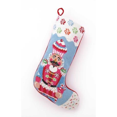 Glitterville Candy Vision Nutcracker Needlepoint Stocking