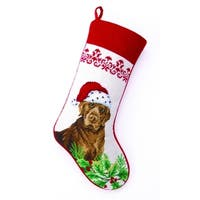 Chocolate Lab Needlepoint Stocking