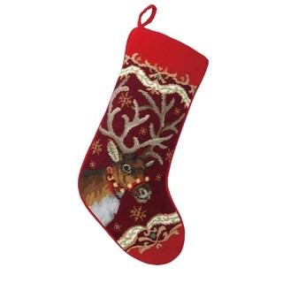 Christmas Deer Needlepoint Stocking
