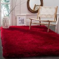 Safavieh Handmade Luxe Shag Red Polyester Rug - 6' x 9'