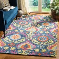 Safavieh Hand-Hooked Suzani Blue/ Multi Wool Rug - 5' x 8'