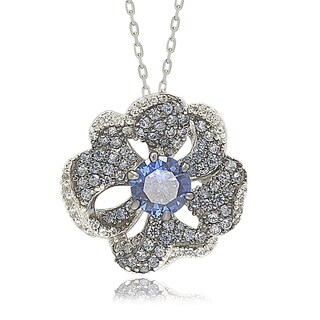 Suzy Levian Sterling Silver Sapphire and Diamond Accent Whimsical Flower Pendant Necklace - Blue