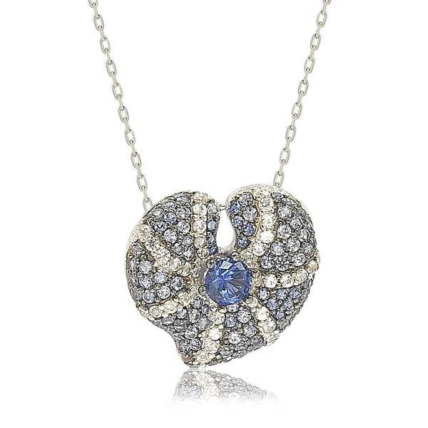 e3a604d09d627 Suzy Levian Sterling Silver Sapphire and Diamond Accent Whimsical Heart  Pendant Necklace - Blue