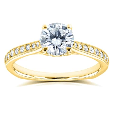 Annello by Kobelli 14k Gold 1 1/5ct TGW Round Moissanite and Diamond Vintage Trellis Engagement Ring