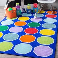 nuLoom Blue Nylon Playtime Geometric Color Octagons Educational Kids Rug (8' x 10')