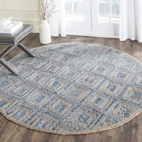 Safavieh Hand-Woven Cape Cod Natural/ Blue Jute Rug - 8' Round