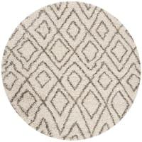 Safavieh Hudson Shag Ivory/ Grey Rug - 5' x 5' round