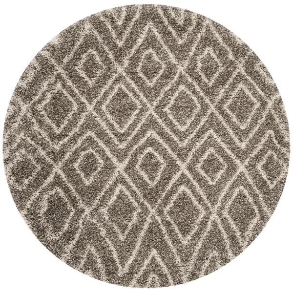 Safavieh Hudson Shag Grey/ Ivory Rug (5' Round)