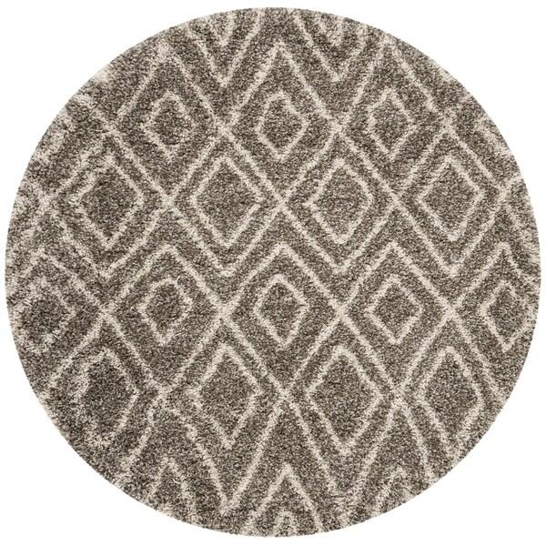 Safavieh Hudson Shag Grey/ Ivory Rug (7' Round)