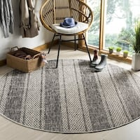 Safavieh Courtyard Light Grey/ Black Rug - 6'7 Round