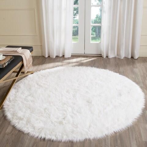 Safavieh Faux Sheep Skin Ivory Acrylic Rug - 5' x 5' Round