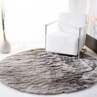 Safavieh Faux Sheep Skin Grey Acrylic Rug - 3' x 3' round