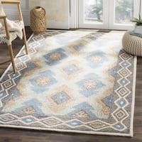 Safavieh Handmade Micro-loop Blue/ Beige Wool Rug - 5' Square