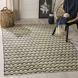 Safavieh Hand-Woven Montauk Gold/ Blue/Black Cotton Rug - 4' Square
