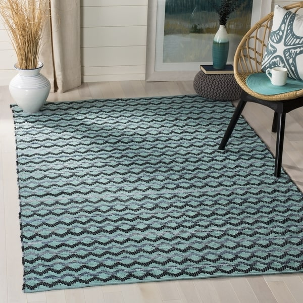 Safavieh Hand-Woven Montauk Turquoise/ Blue/Black Cotton Rug - 6' Square