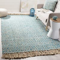 Safavieh Hand-Woven Natural Fiber Turquoise/ Natural Jute Rug - 6' Square