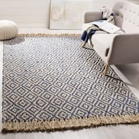 Safavieh Hand-Woven Natural Fiber Tropical Blue/ Natural Jute Rug - 6' Square