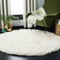 """Safavieh Polar Shag White Fluffy Silken Rug - 5'1"""" x 5'1"""" Round"""