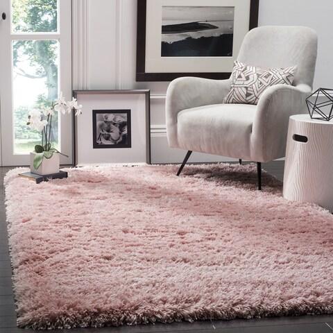 "Safavieh Polar Shag Light Pink Polyester Rug - 5'1"" x 5'1"" Square"
