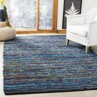 Safavieh Hand-Woven Rag Rug Bohemian Turquoise/ Black Cotton Rug - 6' x 6' Square