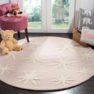 Safavieh Handmade Safavieh Kids Pink/ Ivory Wool Rug (5' Round)